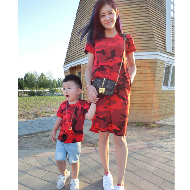 2017 summer dress mother father son matching clothes