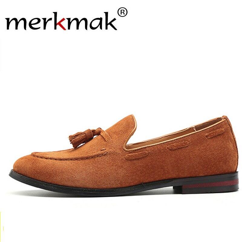 Merkmak Men   Suede   Loafers Shoes Tassel Design Business Shoes Men's Flats Big Size 47 Simple Slip On Male Mans Casual Footwear