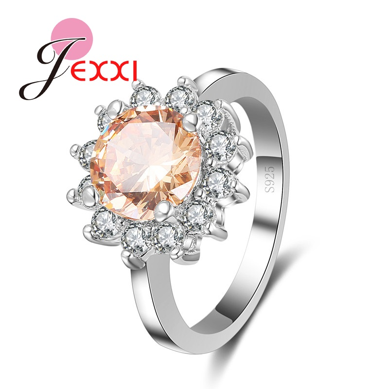 JEXXI Elegant Jewelry Flower Shape Champagne Crystal Zirconia Rhinestone 925 Stamp Woman Sterling Silver Wedding Engagement Ring
