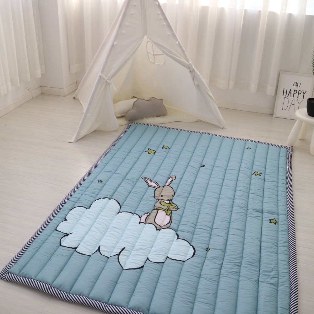 Muslinlife coton bébé enfants tapis de jeu, doux chaud tapis de sol anti-dérapant, mignon lapin ours éléphant enfants filles garçons tapis de jeu, 140*200 cm - 5