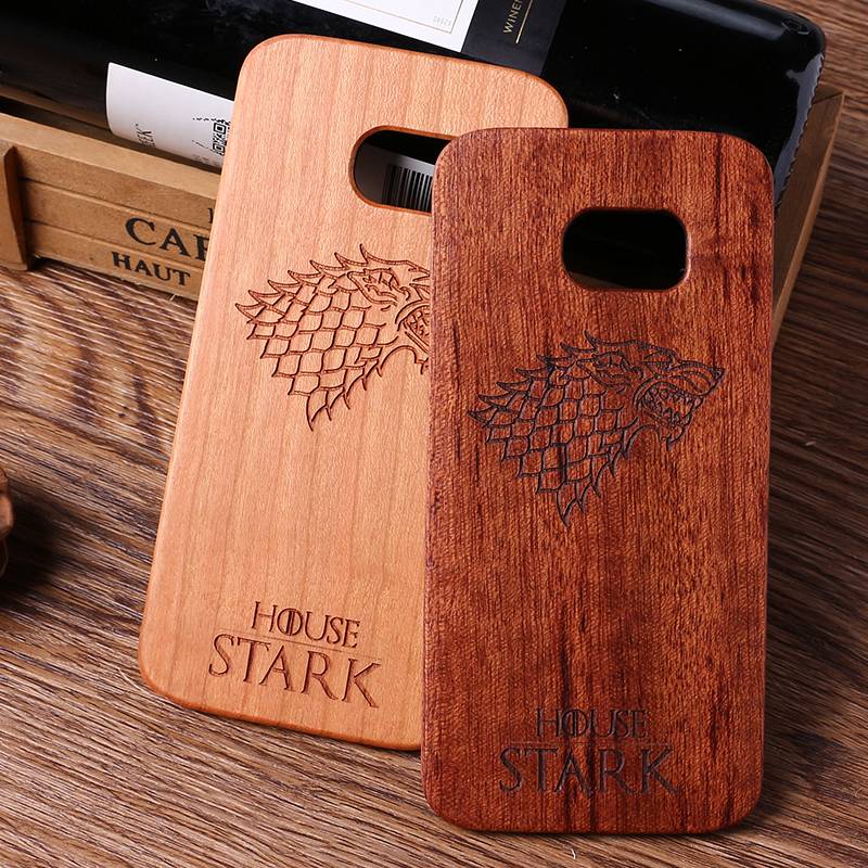 The Game  House Stark Laser Engraved Real Wood Case For iPhone 5 5S 6 6S 6Plus 7 7Plus SAMSUNG Galaxy S6 S7 Edge S8 Plus wood