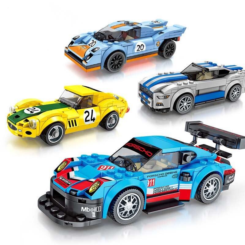 Nueva técnica de Super corredores velocidad Supercar coche de carreras para niños navidad regalo Compatible con Legoings Coche