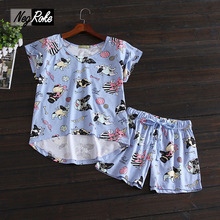 New Summer short sleeves shorts women Cute Simple  100% cotton women pajama sets homewear for ladies sleepwear pyjamas women