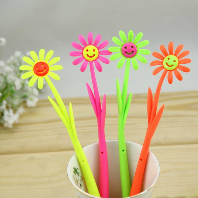 C008 Korea Edisi dicintai lembut silika gel pemodelan senyum bunga matahari pena Alat Tulis perlengkapan kantor pena netral indah lembut untuk