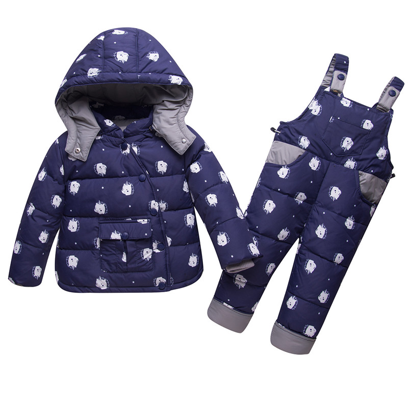 Dulce Amor Kids Down Jacket Set Parkas 2018 Winter Warm Unicorn Print Snowsuit+Romper For Baby Boys Girls -30 Degree Outerwear girls eyes print romper