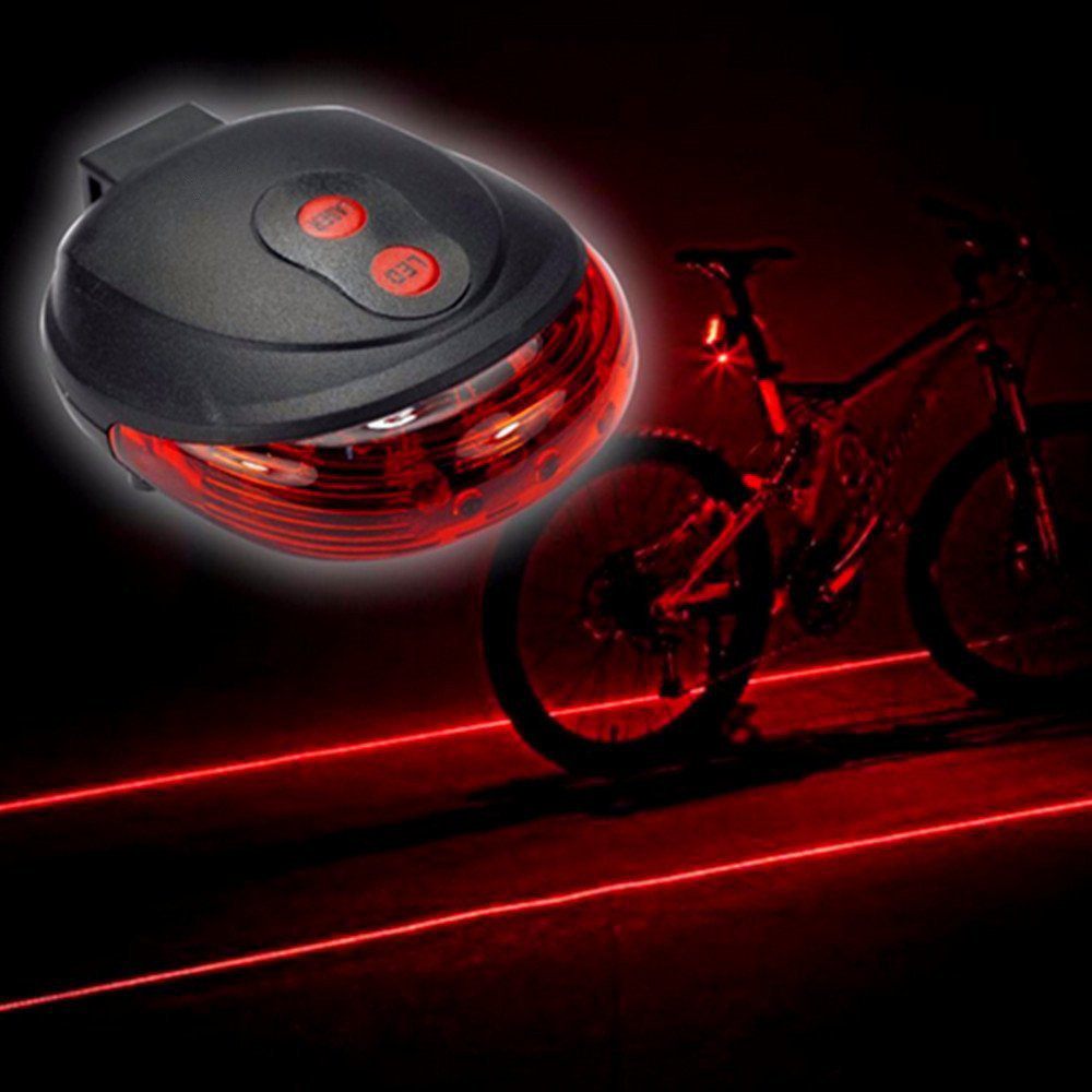 NEW 2 Laser 5 LED Rear Bike Bicycle Tail Light Beam Safety Warning Red Lamp USA