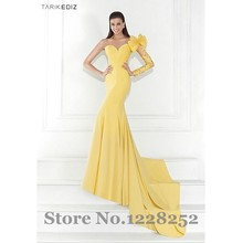 Sexy One Shoulder Long Sleeve Evening font b Dresses b font with Bow Yellow Satin Mermaid