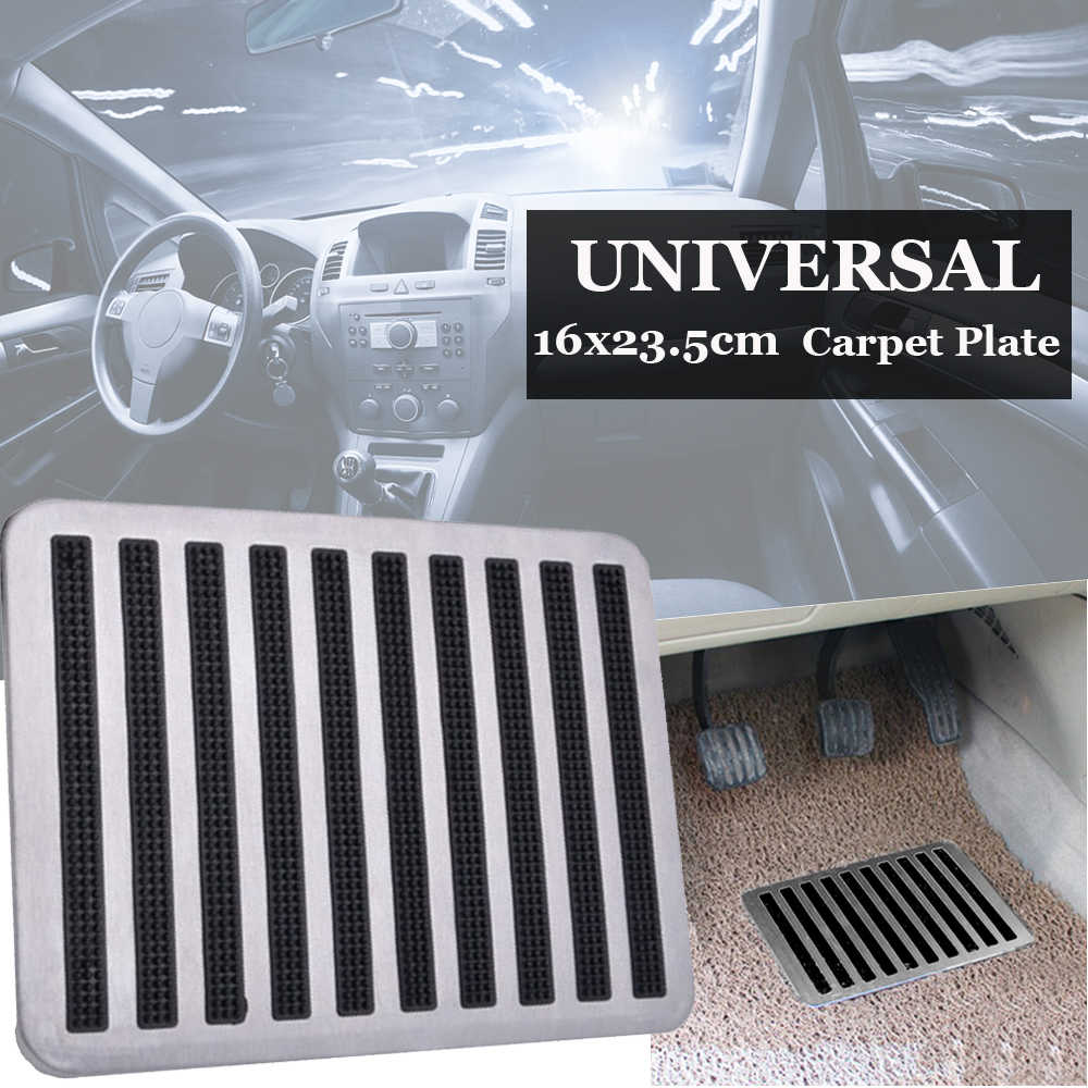 Stainless-Steel&Rubber Floor Carpet Mat Patch Foot Heel Plate Pedal Pads For Car
