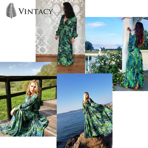 Image 5 - Vintacy ארוך שרוול שמלת ירוק טרופי חוף בציר מקסי שמלות Boho מקרית V צוואר חגורת תחרה עד טוניקה עטוף בתוספת גודל שמלה