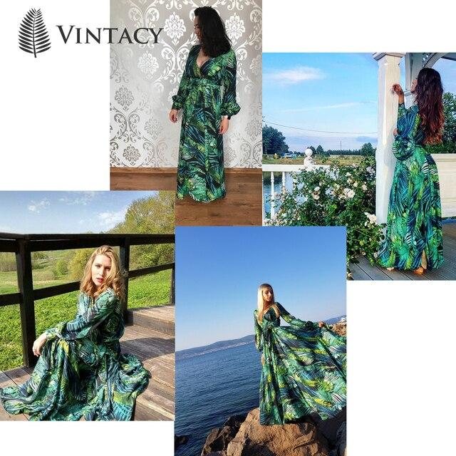 Vintacy Long Sleeve Dress Green Tropical Beach Vintage Maxi Dresses Boho Casual V Neck Belt Lace Up Tunic Draped Plus Size Dress 4