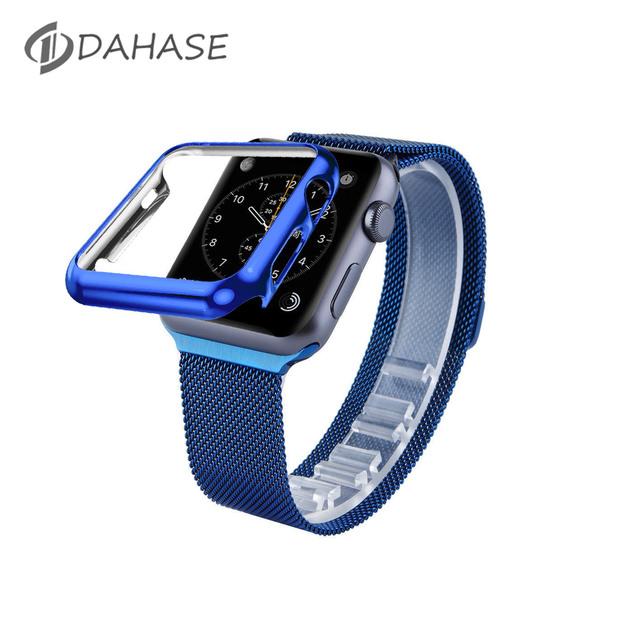 Dahase azul correa de acero inoxidable cierre magnético para apple watch milanese loop strap band para iwatch primera cubierta de la caja 38/42