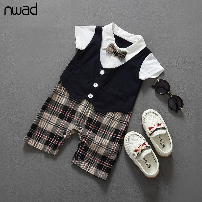 2017 Summer New Plaid Baby Boy Romper Gentleman Tie Baby Jumpsuit Rompers For Newborn Baby Boys Clothes Baby Kids Costume FF050 baby girl clothes romper hello kitty jumpsuit kids clothes newborn conjoined creeper gentleman baby costume dress 3pcs new 2016