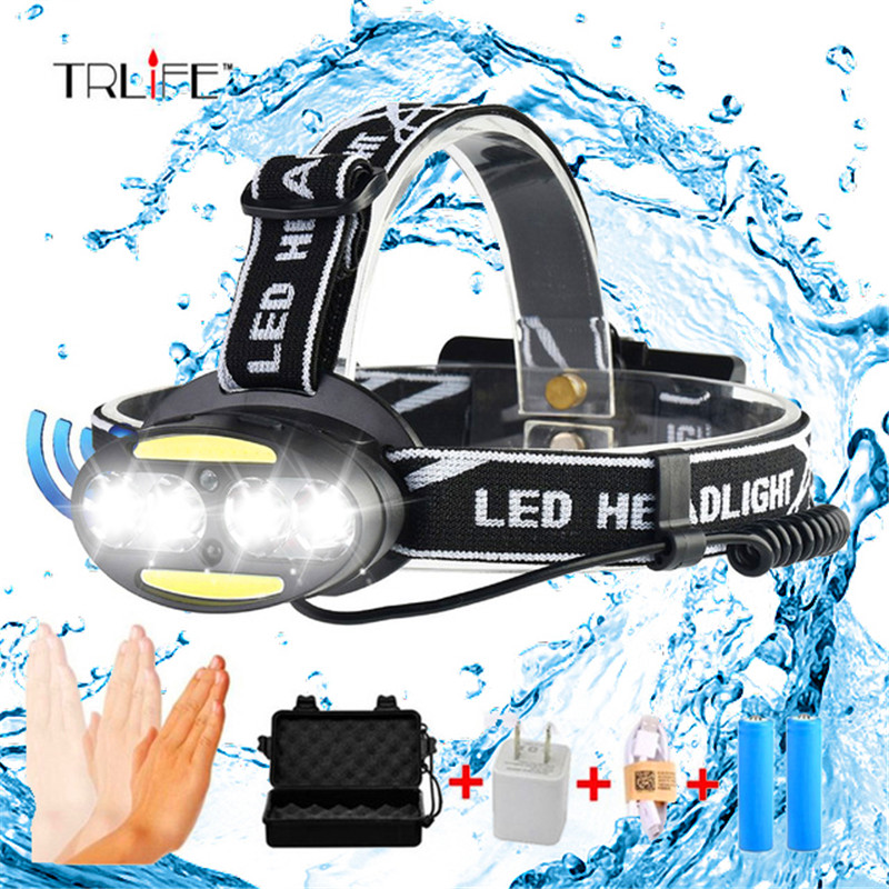 10000LUMS IR Sensor 4*T6+2*COB Headlight Induction Micro USB Rechargeable Lantern LED Headlamp Head Lamp Light Torch By 18650 цена