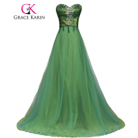 New Arrival Beautiful Strapless Long Green Prom Dresses Sequins Beadings Tulle Elegant Formal Gown Free Shipping