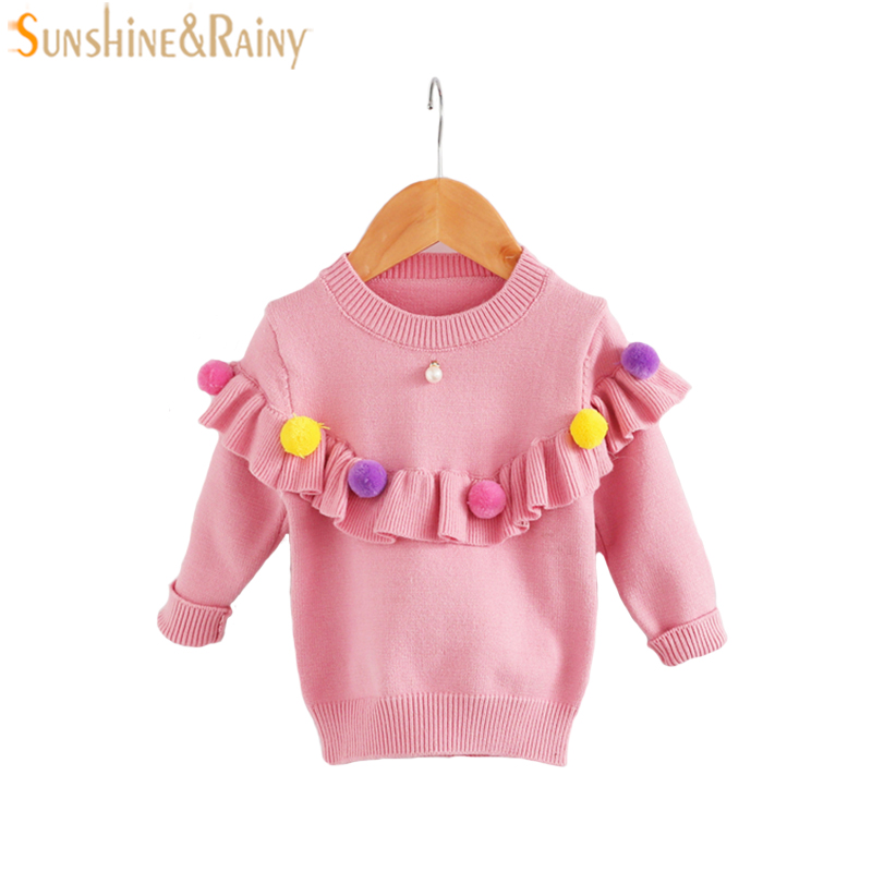 Baby Girls Sweaters Kids Handmade Sweater Fur Ball Ruffle Coats For Girls Spring Autumn Children Long Sleeve Knitted Clothes