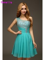 Jade One Shoulder A-line Beaded Chiffon Cocktail Dresses With Straps 2017 Juniors Informal Prom Cocktail Dress Party Dress Real
