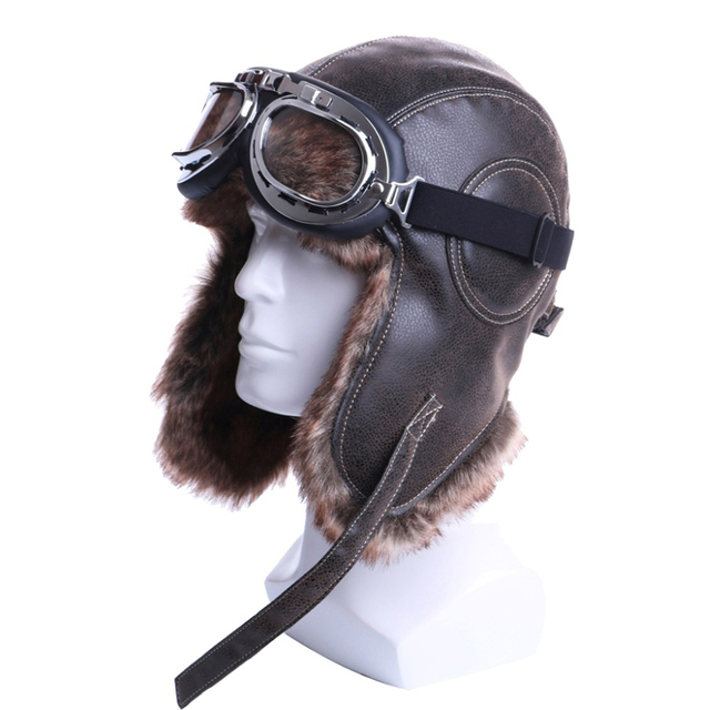Winter Bomber Hats Plush Earflap Russian Ushanka with Goggles Men Women s  Trapper Aviator Pilot Hat Faux Leather Fur Snow Caps 468f9b036af