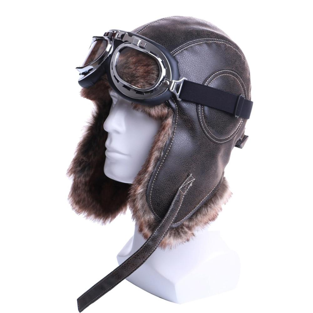 003079f8e518 Winter Bomber Hats Plush Earflap Russian Ushanka with Goggles Men Women's  Trapper Aviator Pilot Hat Faux Leather Fur Snow Caps