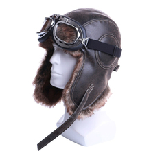 Winter Bomber Hats Plush Earflap Russian Ushanka with Goggle