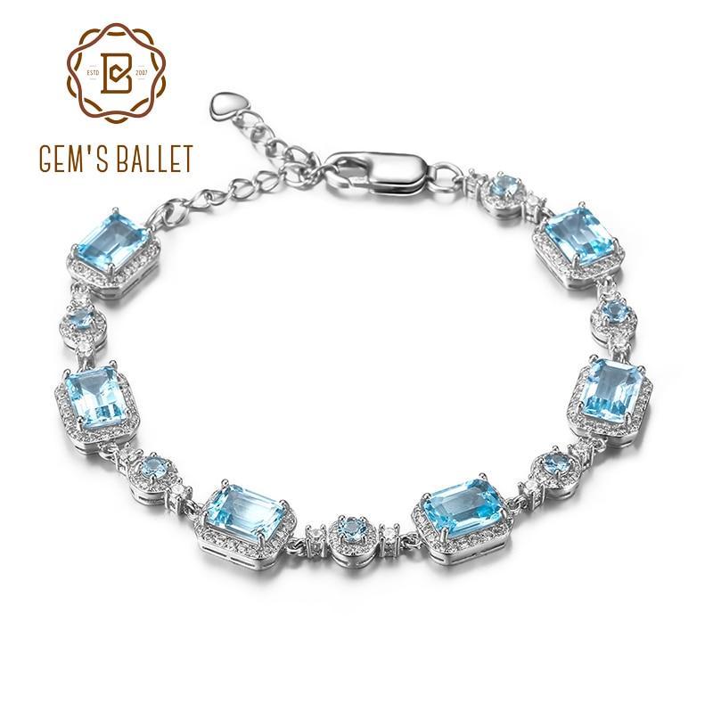 GEM'S balet 19.01Ct naturalne błękitny Topaz bransoletka dla kobiet w porządku biżuteria oryginalna 925 Sterling Silver bransoletki z kamieniami szlachetnymi w Bransoletki i obręcze od Biżuteria i akcesoria na  Grupa 1