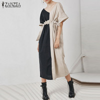 Plus Size ZANZEA Women Summer Patchwork Cotton Linen Drawstring Waist Casual Party Vestido V Neck Short