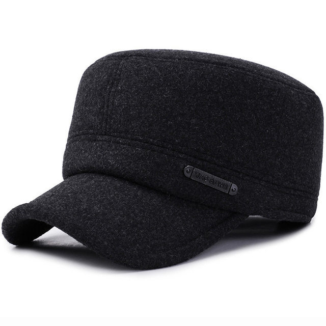 2db23c796 US $8.79 45% OFF|HT2066 Men Baseball Cap Thick Warm Wool Caps for Men Flat  Top Army Military Cap Winter Baseball Hat Elder Man Adjustable Dad Hat-in  ...