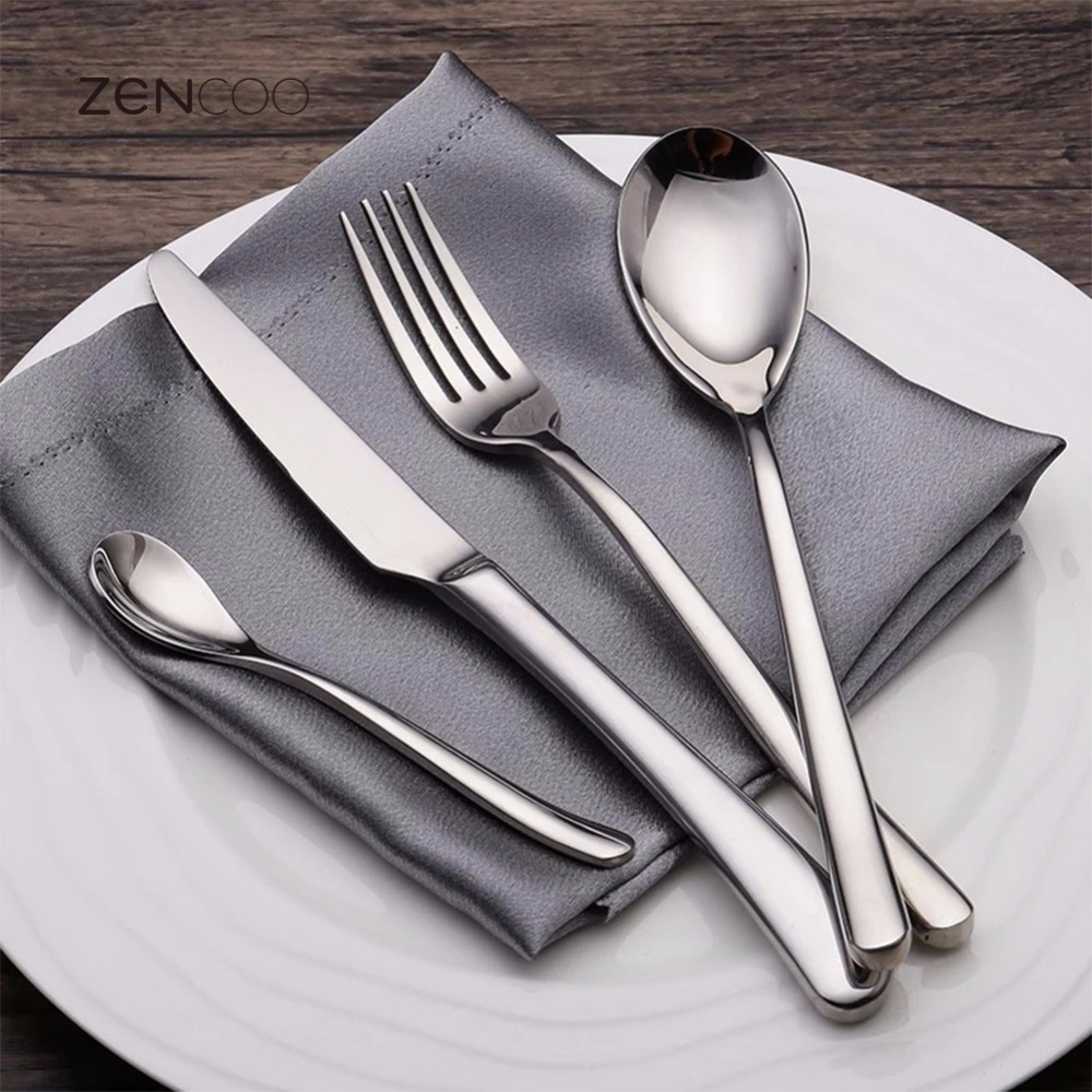 ZENCOO Premium 304 Stainless Steel Tableware Set Gift Mirror Polished Steak Knife/Fork/Spoon Set Heavy Handle for Restaurant