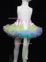 Children Girls Fluffy Pettiskirts Rainbow Tutu Skirt Light Yellow Patchwork