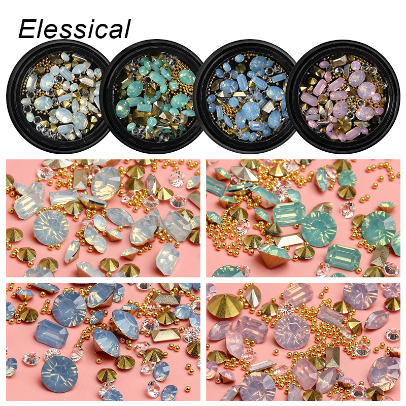 ELESSICAL Mixed Opal Nail Rhinestone Tip Drill 3D Nail Studs Copper Beads Glitter Nail Art Decoration For Manicure WY1235-WY1238 hot 4mm metal edge 3d white half round glitter pearl nail decoration studs beads diy nail rhinestone tools