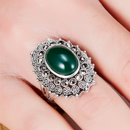 blucome Vintage Turkish Rings For Women Party Gifts Antique silver Plated Women Aneis Anel Ouro The Ring Metal Resin Anillos