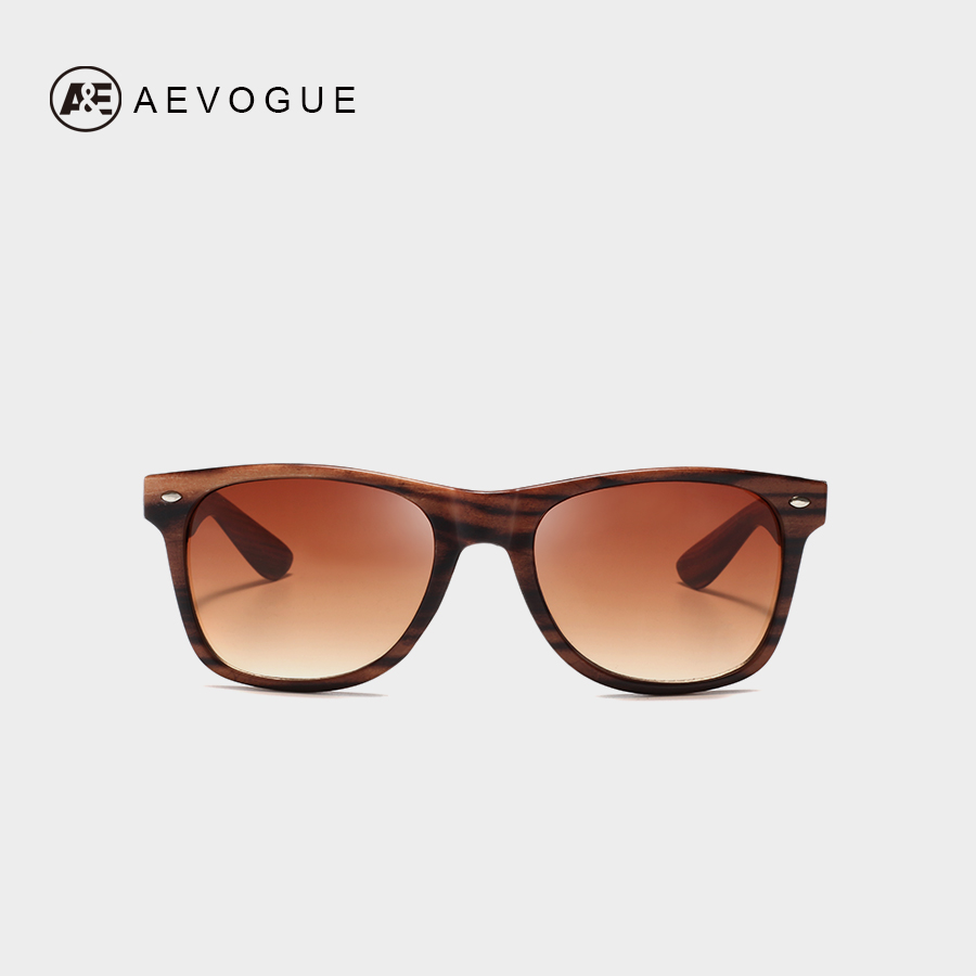 AEVOGUE Sunglasses 2019 Women Unisex Style Rivet Retro Original Design Wood Printing Oculos De Sol Masculino UV400 AE0683