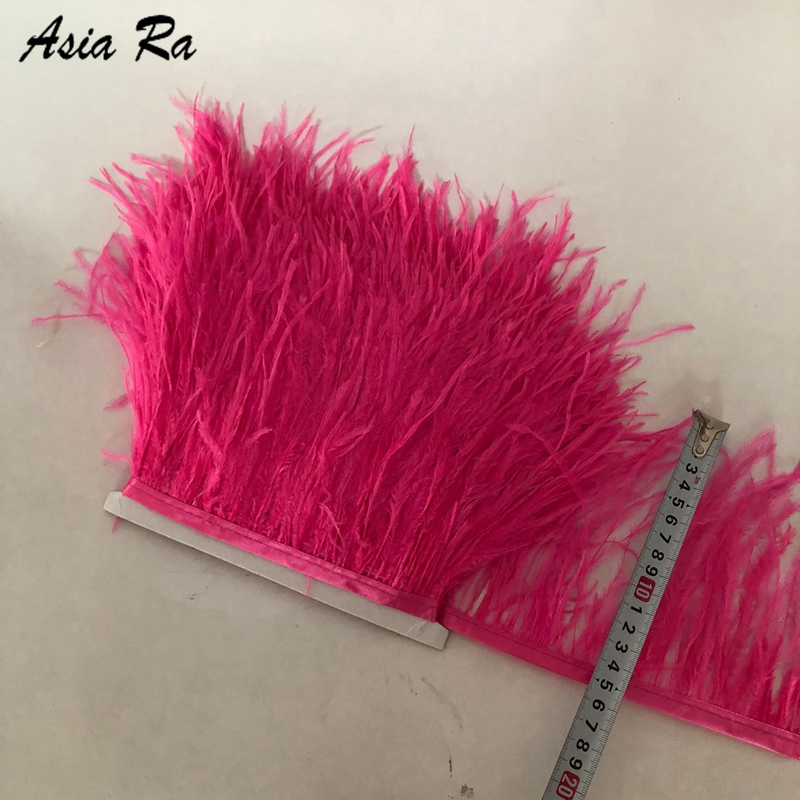 Asia Ra Factory Sales 42 color stocks available 10M deep Pink Ostrich feather trims 10 15cm