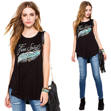 Women Sexy Sleeveless O-Neck Loose Letter Feather Print Top Casual T-shirt Vest