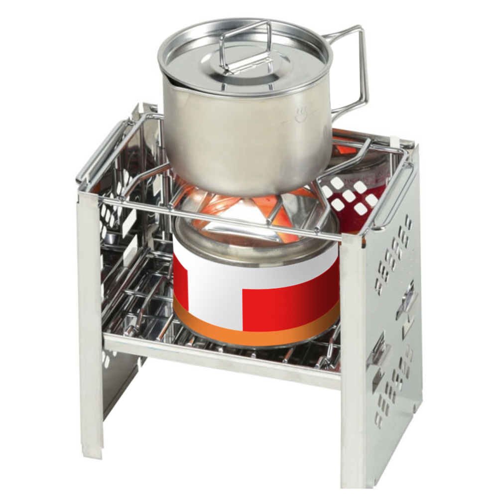 Potable Folding Stainless Steel Backpacking Stove Outdoor Wood Burning Camp Stove Picnic BBQ Camping Stove-in Outdoor Stoves from Sports & Entertainment