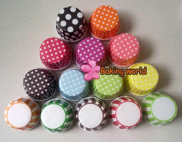 Free Shipping  + 2000pcs Round MUFFIN Paper Cake Mixed White Polka DOT and Stripe Cupcake Cup Cake CASES