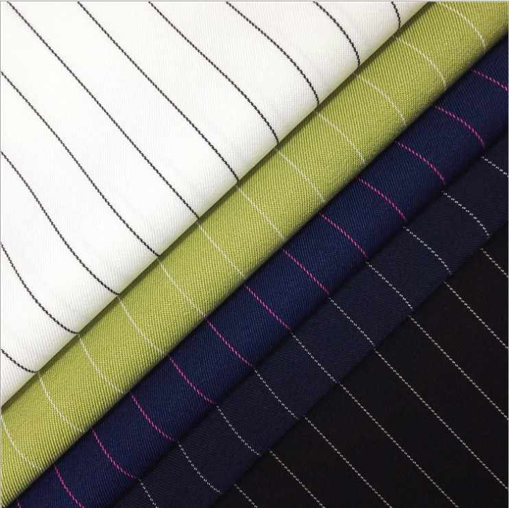 Pinstripe Twill Fabric Elastic Polyester Women Suit Uniform Dress Shirt Skirt Fabric DIY Handmade width 1.5m*length 1m
