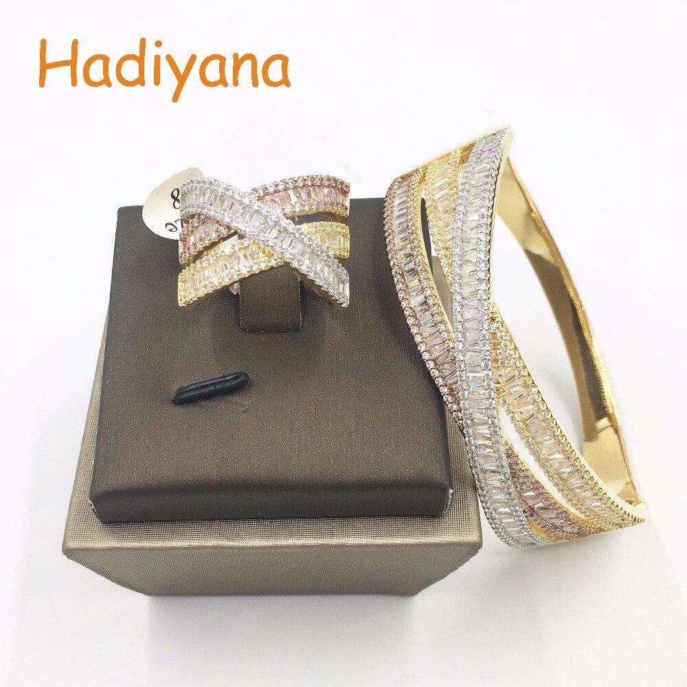 HADIYANA Fashion Jewelry Bangle Ring 2pcs Set AAA Cubic Zirconia 3 Tones Muticolor Dubai Jewelry Sets