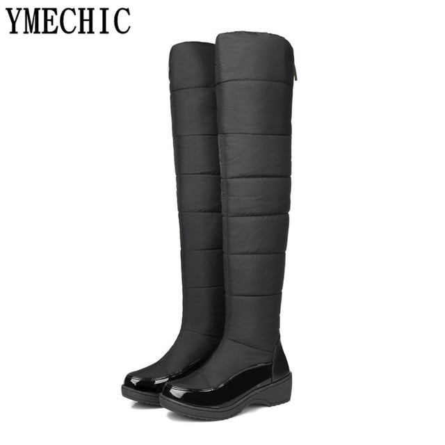YMECHIC Noir Bleu Plat Plate-Forme Chaud Sur Le Genou Haute bottes Femmes  Chaussures Chaussures c0467c638691