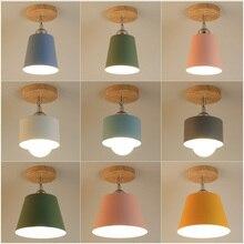 Led Ceiling Light Modern Wood Lamp E26/E27 Base Colorful Lampshade 85-110V Minimalist Retro Rustic Hanging