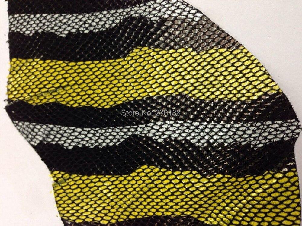 Эксклюзивный покрытием натуральной козьей кожи Ткань со змеиным узором, желтый/синий, Бесплатная доставка