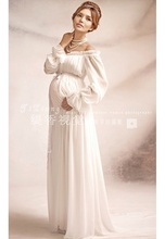 2017 New Royal Style White Lace Maternity Dress Pregnant Photography Props Pregnancy Maternity Photo Shoot Long Dress Nightdress