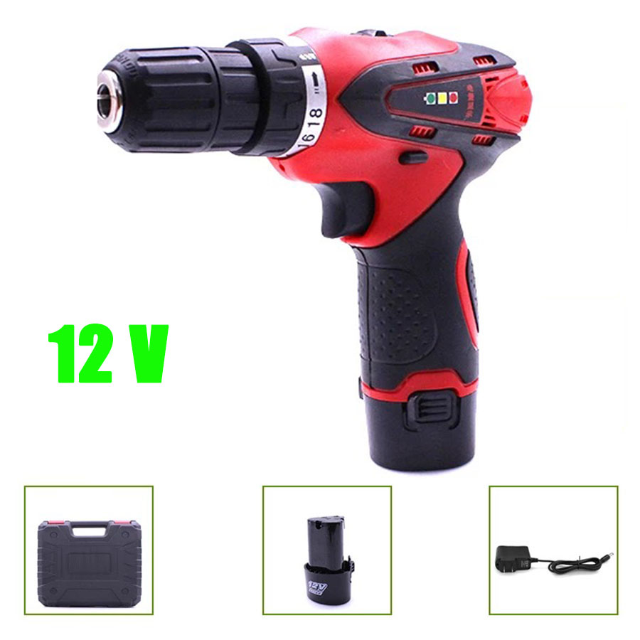 VOTO Battery Rechargeable Cordless Drill Electric Screwdriver Set Case Lithium Power Tools Screw Gun Driver 12V With Case 2018 protective pc case with 5400mah rechargeable lithium battery