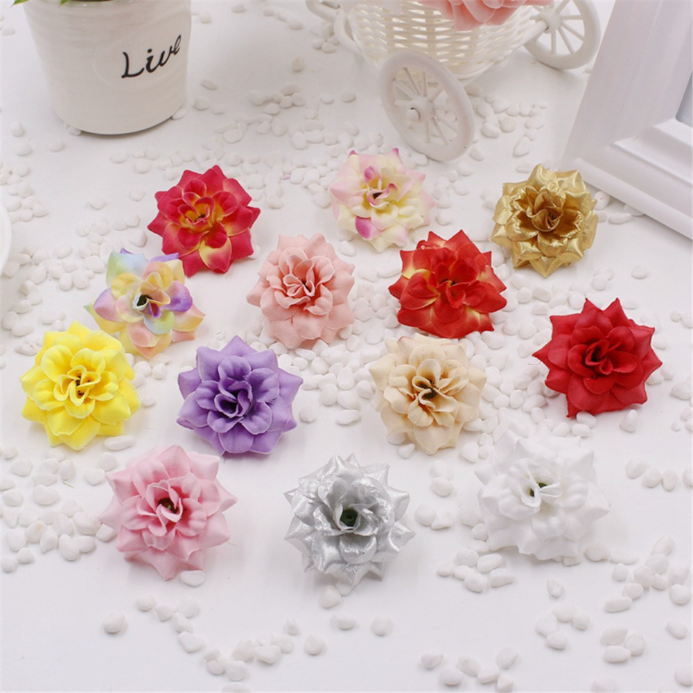 Chenap 5pcs lot simulation flower head rose small silk for Artificial flower for wedding decoration