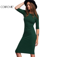 COLROVIE Work Summer Style Women Bodycon Dresses Sexy 2017 New Arrival Casual Green Crew Neck Half Sleeve Midi Dress C1204