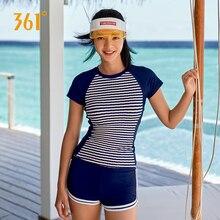 361 Two Piece Swimsuit Women Bathing Suits Surfing Baywatch Swim Suit Tankini Girls Swimwear Sports Short Sleeve Swimming