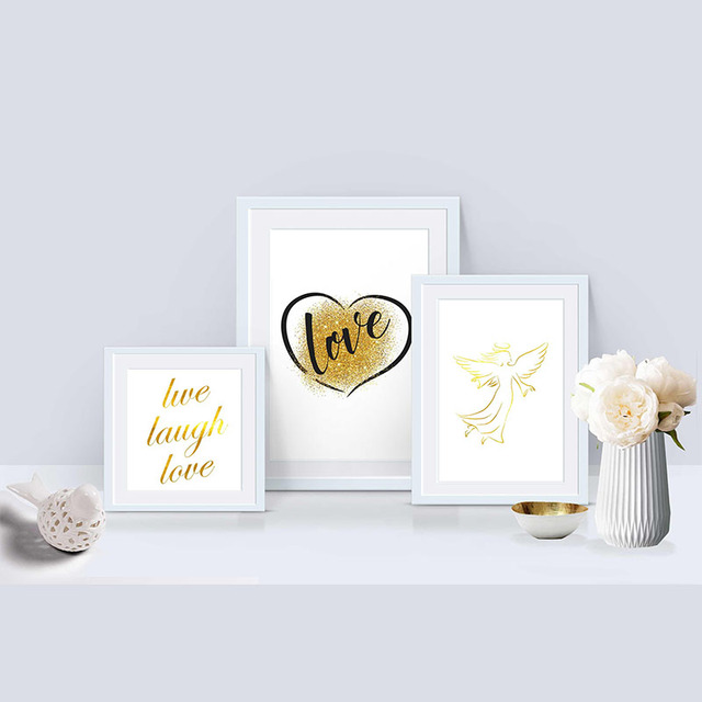Gold Printable Wall Art Angel Love Live Laugh Love Digital Prints ...