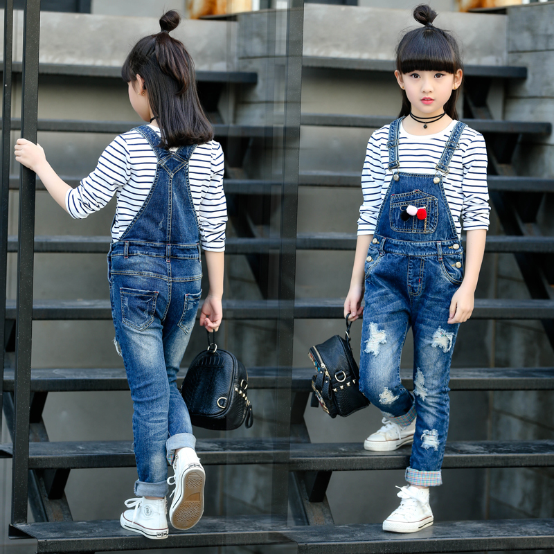 все цены на Ripped Jeans Overalls for Girl Denim Pants Children Jeans Jumpsuit Fashion Teenager Autumn Clothes 3 4 6 8 10 12 Infant Trousers онлайн