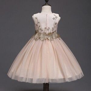 Image 2 - JaneyGao 2019 אופנה פרח ילדה שמלות למסיבת חתונה אלגנטי שמפניה שמלת טול שמלה עם רקמת תחרה אפליקציות