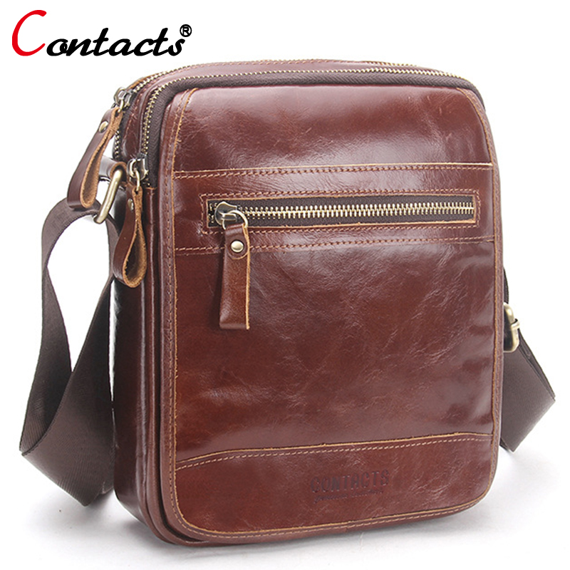 CONTACT'S Men Messenger Bags Men Genuine Leather Bag Famous Brand Male Crossbody Bags Business Birefcases 2018 Bag Men Casual