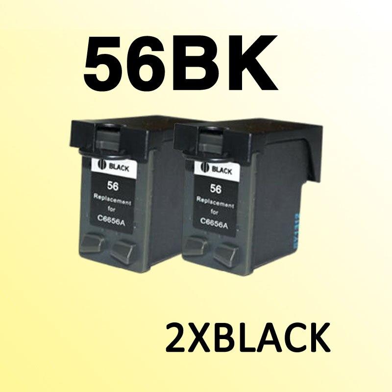 2 шт. для hp56 черный картридж совместимый для 56 C6656A PSC1110/1210/1350/2105/2108/2110/2115